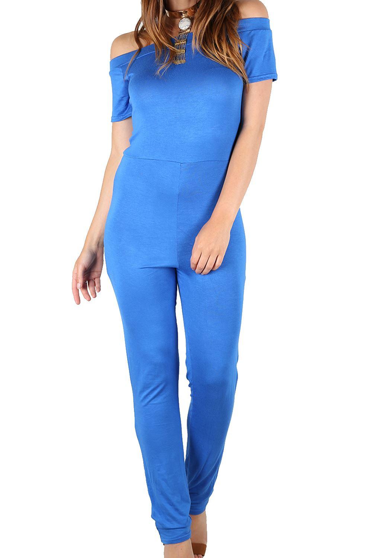 9b94f42c45 Womens Off Shoulder Cap Sleeve Jumpsuit Party Clubwear Romper Ladies ...