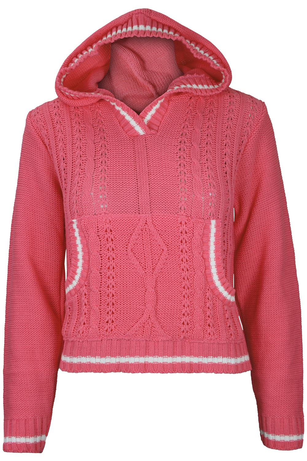 Womens Cricket Knit Crop Jumper Ladies Kangaroo Pocket Pullover Hoody Short T...