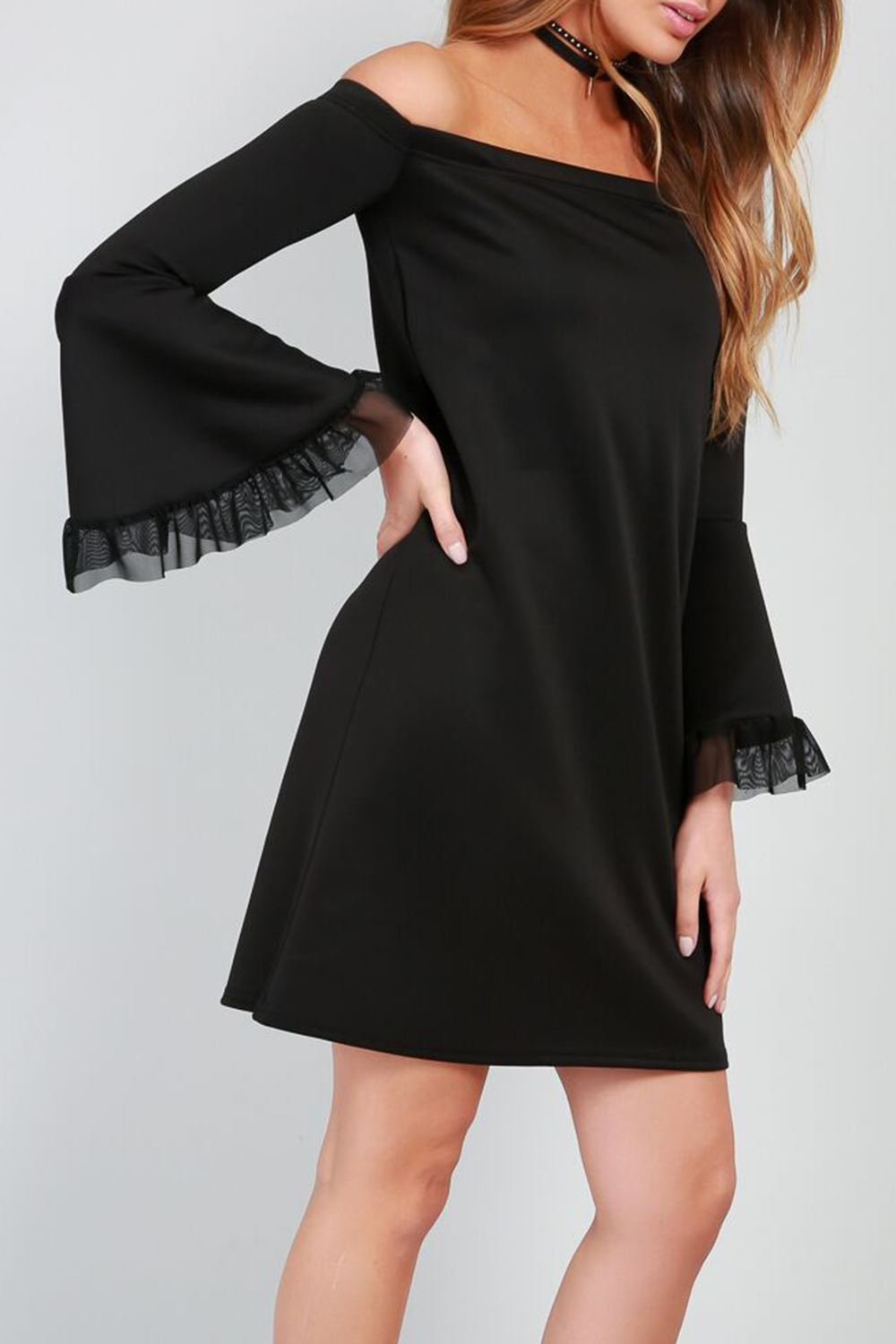 New-Womens-Bardot-Off-The-Shoulder-Ladies-Bell-Frill-Swing-Flared-Mini-Dresses thumbnail 4