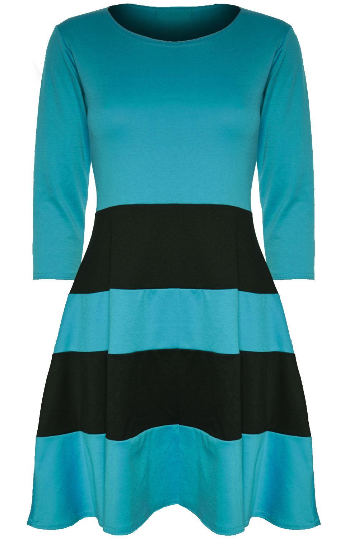 Womens Ladies 3//4 Sleeve Block Stripe Panel Flared Franki Skater Dress Plus Size