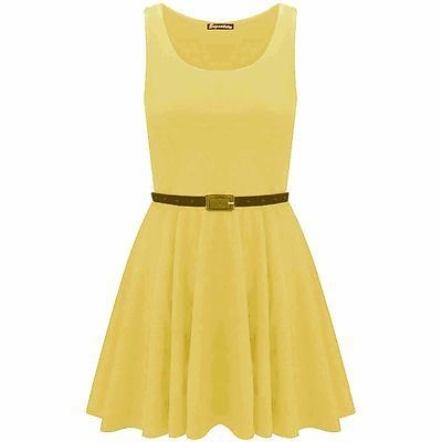 New-Womens-Ladies-Belted-Sleeveless-Franki-Flared-Party-Swing-Skater-Dress-Top thumbnail 11