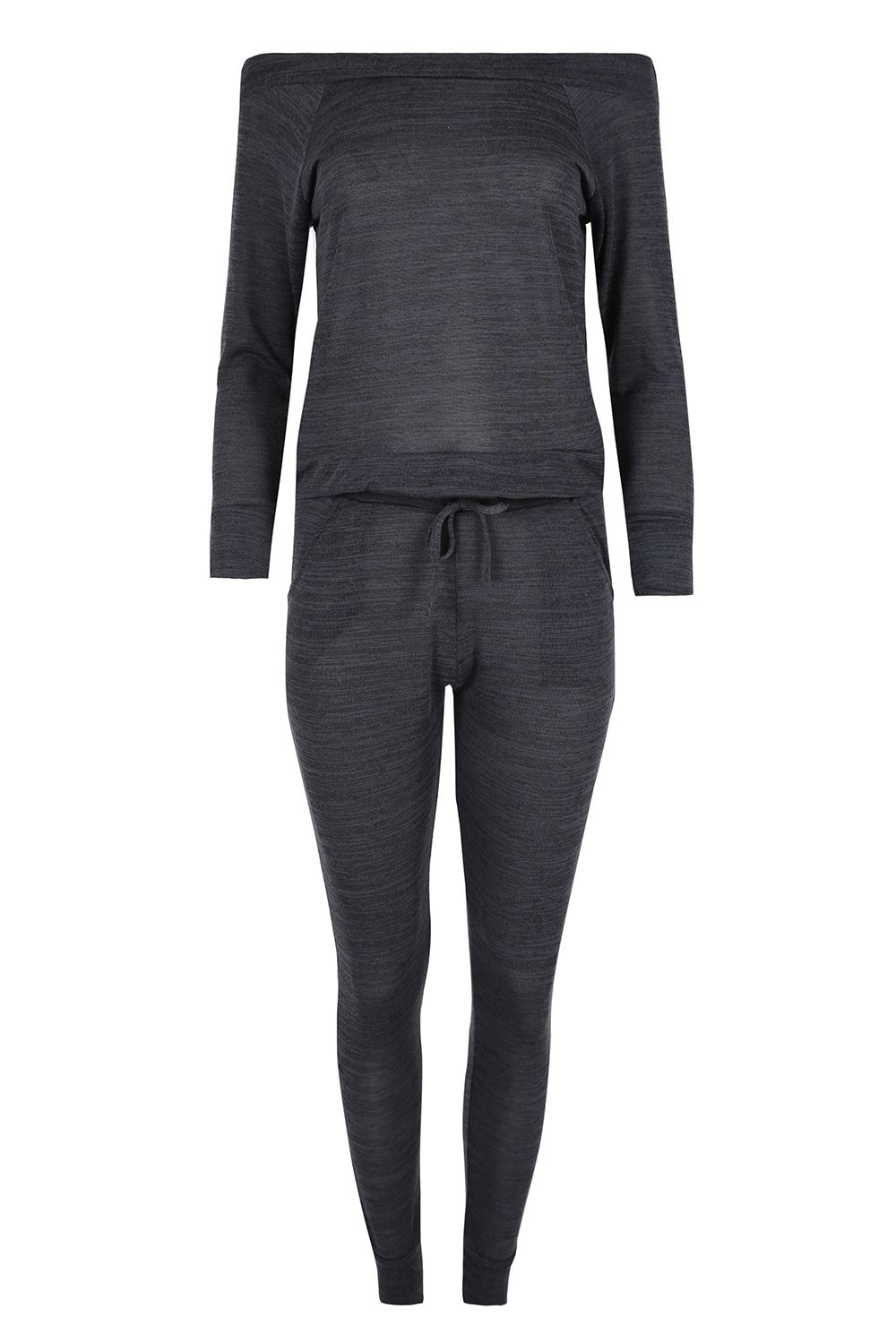 Ladies Marl Top Jog Suit Womens Tracksuit Oversized Off the ...