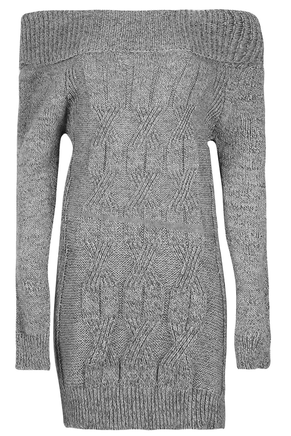 Womens-Ladies-Off-Shoulder-Cable-Chunky-Knit-Jumper-Dress-Bodycon-Mini-Sweater