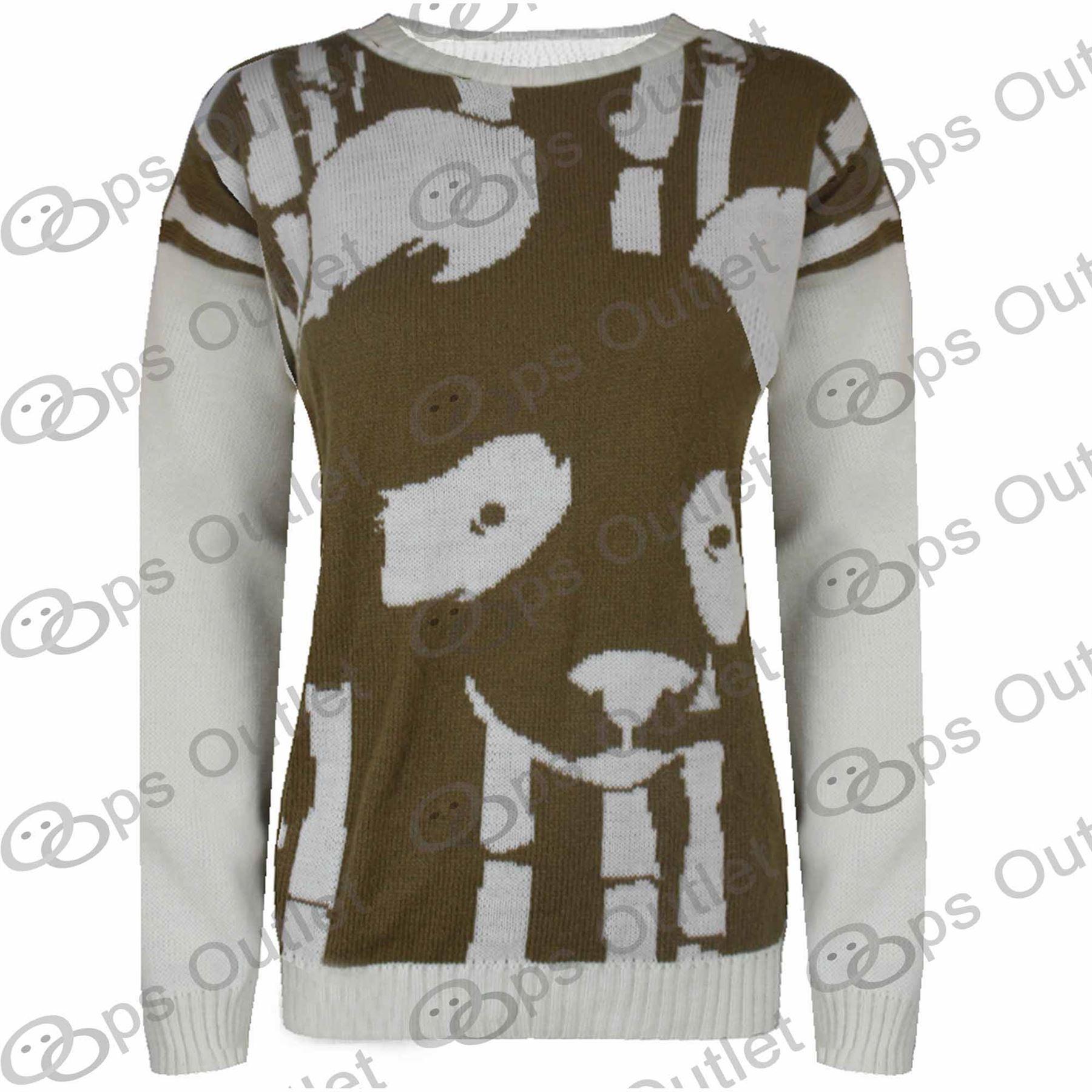 Knitting Pattern Panda Jumper : Ladies Long Sleeves Panda Face Girls Womens Knitted Pullover Sweater Jumper T...