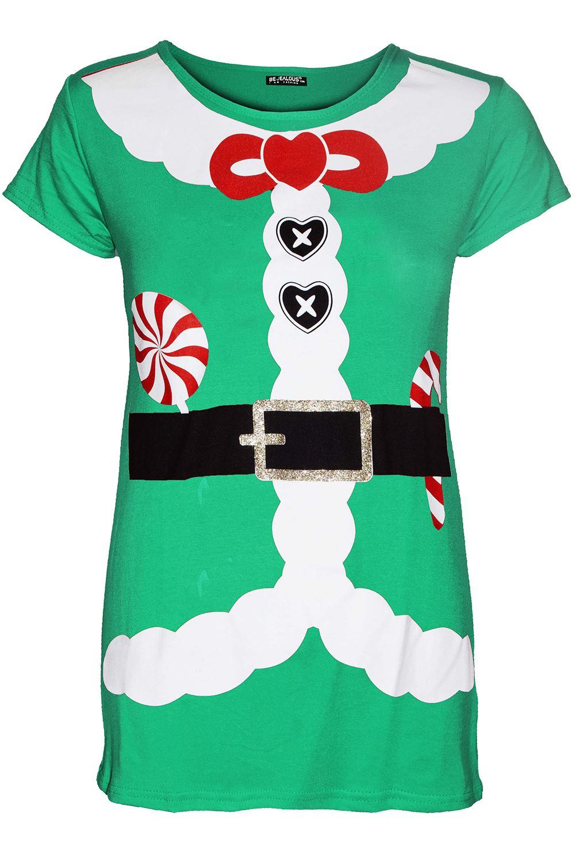 Enfants Filles Noël Pull cœur ruban Santa Costume Costume T Shirt Tee Top