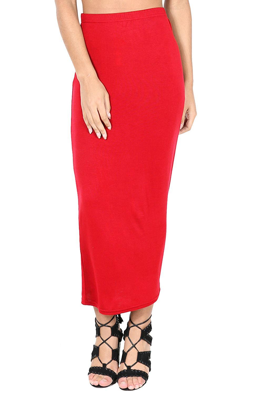 e18507f9cb76 Ladies Office Midi Pencil Skirt Stretch Bodycon Tube Womens Plain ...