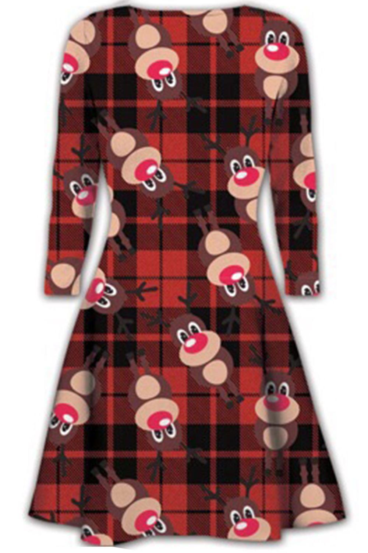 Women-Ladies-Kids-Girls-Xmas-Santa-Gifts-Christmas-Print-Skater-Mini-Swing-Dress thumbnail 51