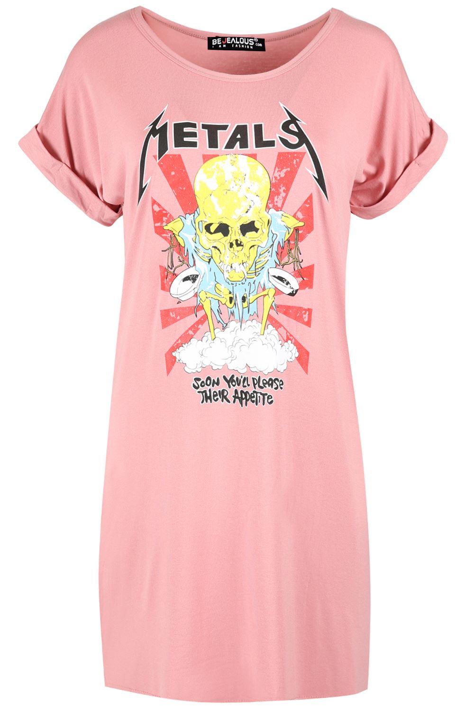 Ladies-Oversize-Rock-America-Womens-Baggy-Turn-Up-Cap-Sleeve-Long-T-Shirt-Dress