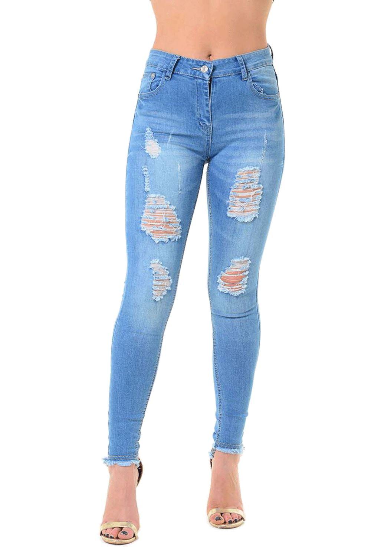 Bottes Femme Cheville déchiré détruit détresse Skinny Fit pantalon Denim Jeans