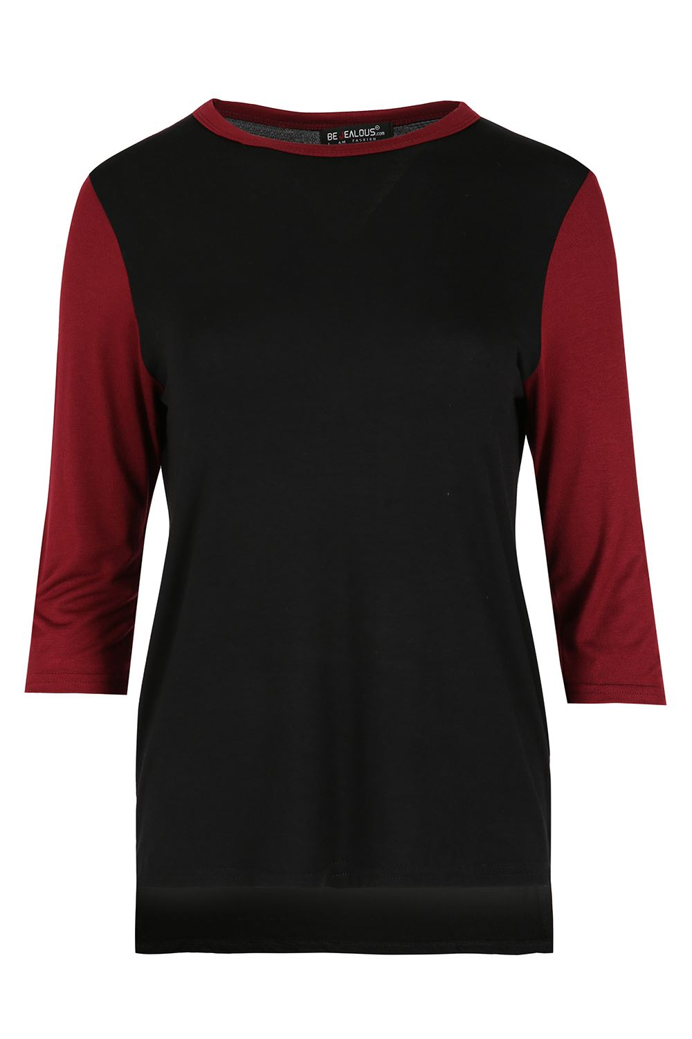 Womens hi lo t shirt ladies round neck 3 4 contrast sleeve for Plus size 3 4 sleeve tee shirts