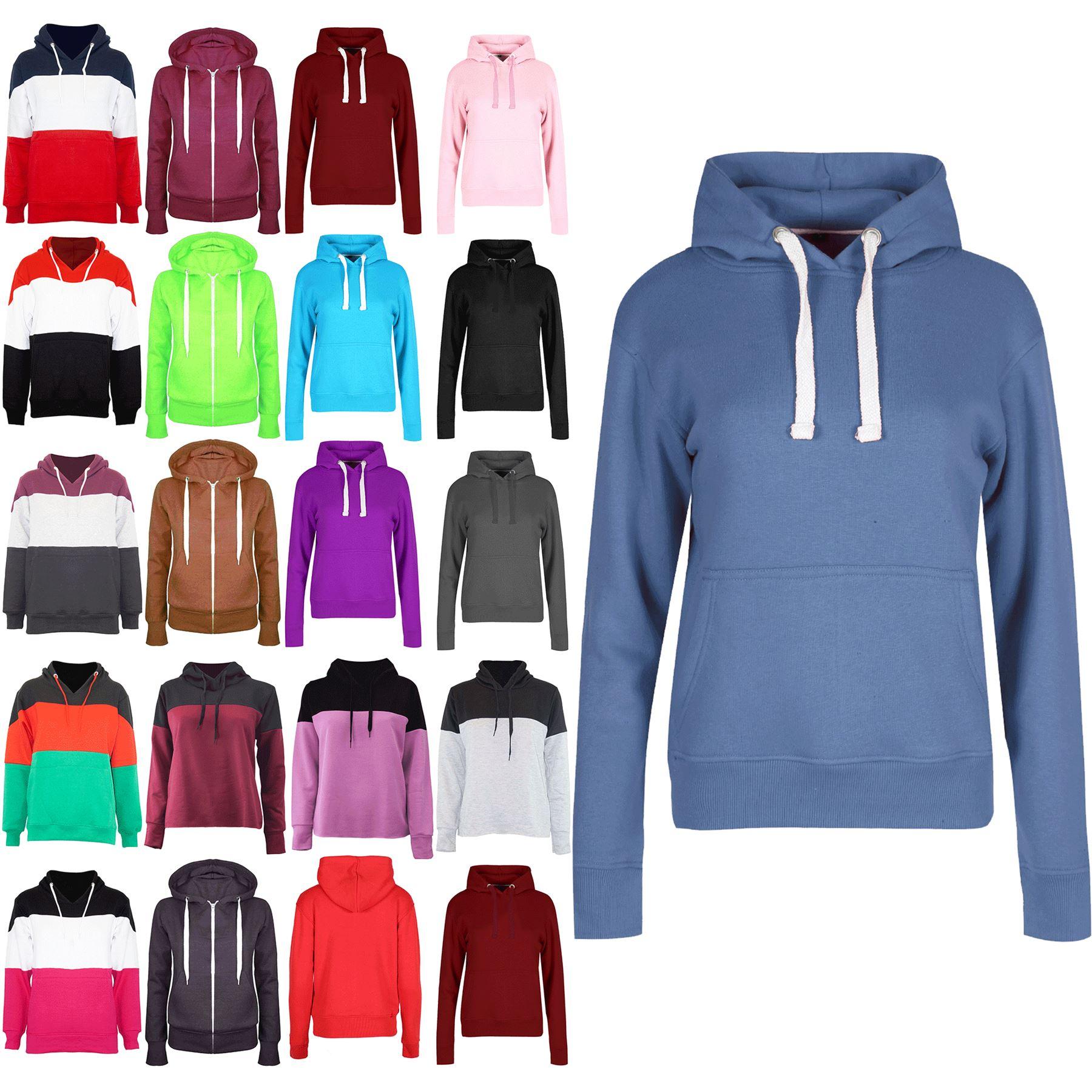 Original Womens Hoodies Ladies Long Sleeve Fleece Knit Side Pockets Jumper Top Sweatshirt Weder Zu Hart Noch Zu Weich