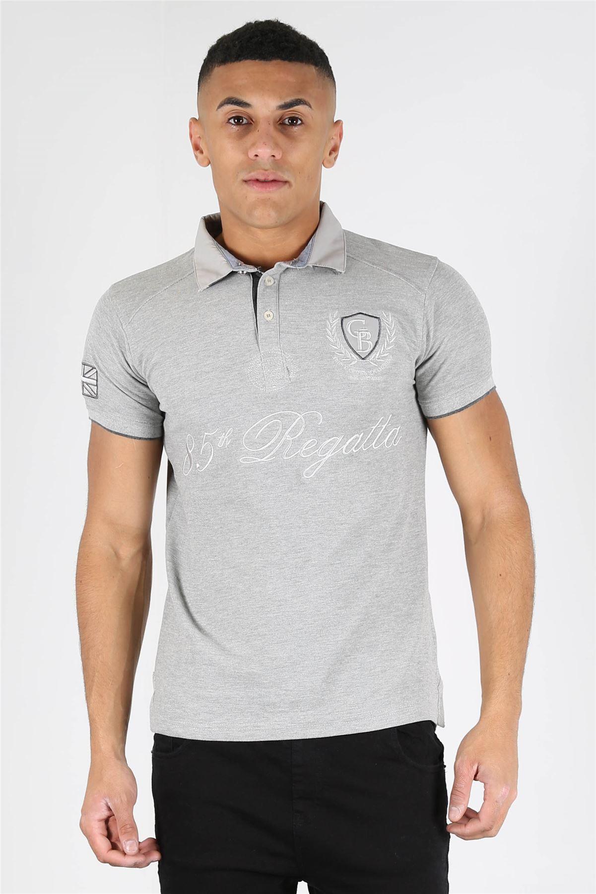 Mens designer slimster london 3 button placket 85 regatta for 3 button polo shirts