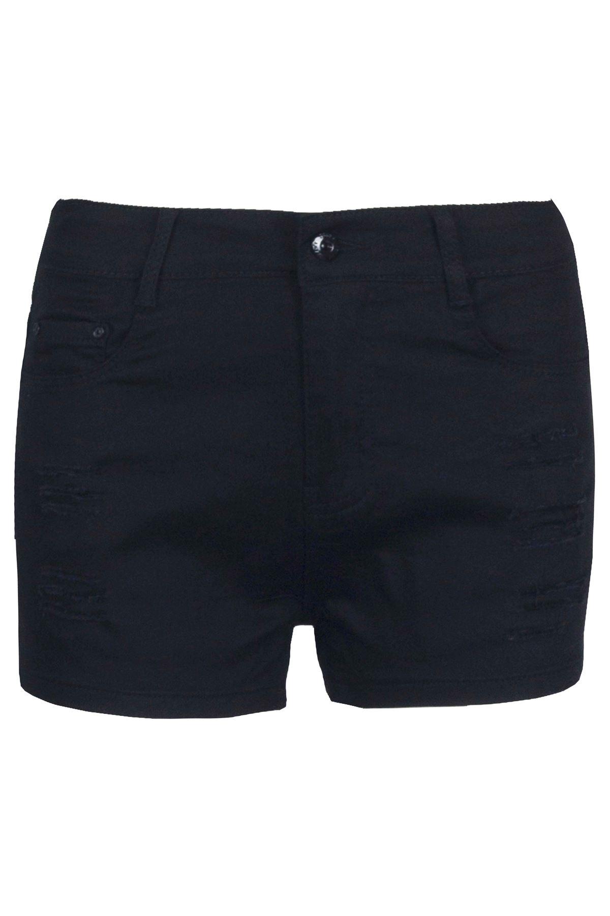 Femmes-Bouton-Dechire-Vieilli-Vintage-Femmes-Denim-Poche-Mini-Shorts-Hot-Pants