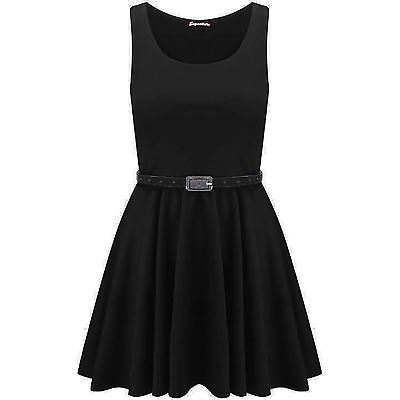 New-Womens-Ladies-Belted-Sleeveless-Franki-Flared-Party-Swing-Skater-Dress-Top thumbnail 2