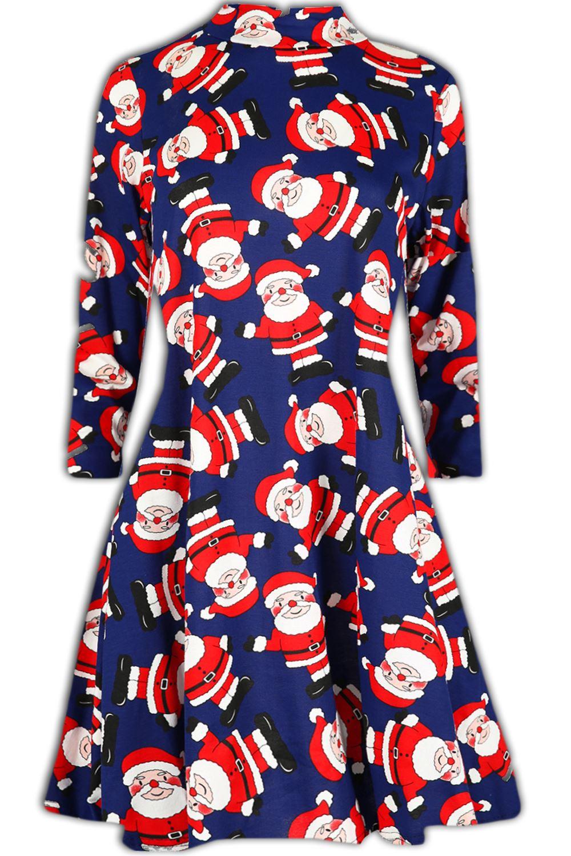 Women-Ladies-Kids-Girls-Xmas-Santa-Gifts-Christmas-Print-Skater-Mini-Swing-Dress thumbnail 35