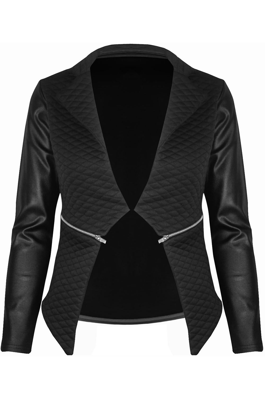 New-Womens-Ladies-Quilted-PVC-Long-Sleeves-Zip-Blazer-Top-Waterfall-Jacket-Coat thumbnail 4