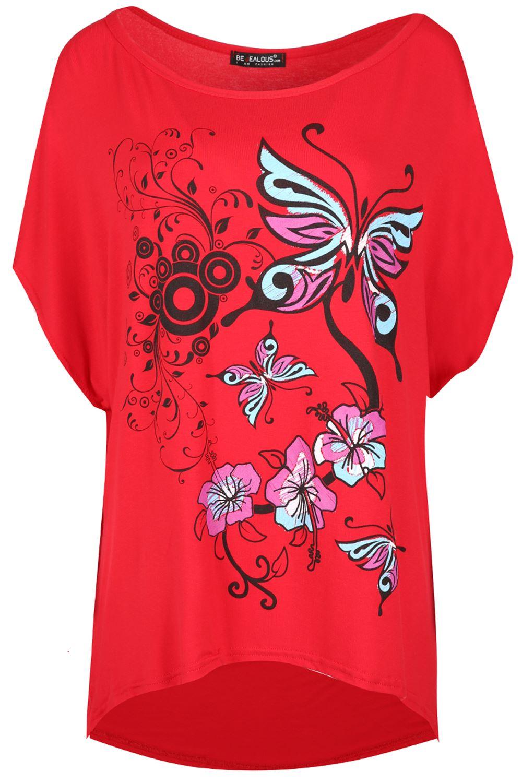 Ladies-Women-Baggy-Direct-Batwing-Sleeve-Lagenlook-Butterfly-Oversize-TShirt-Top