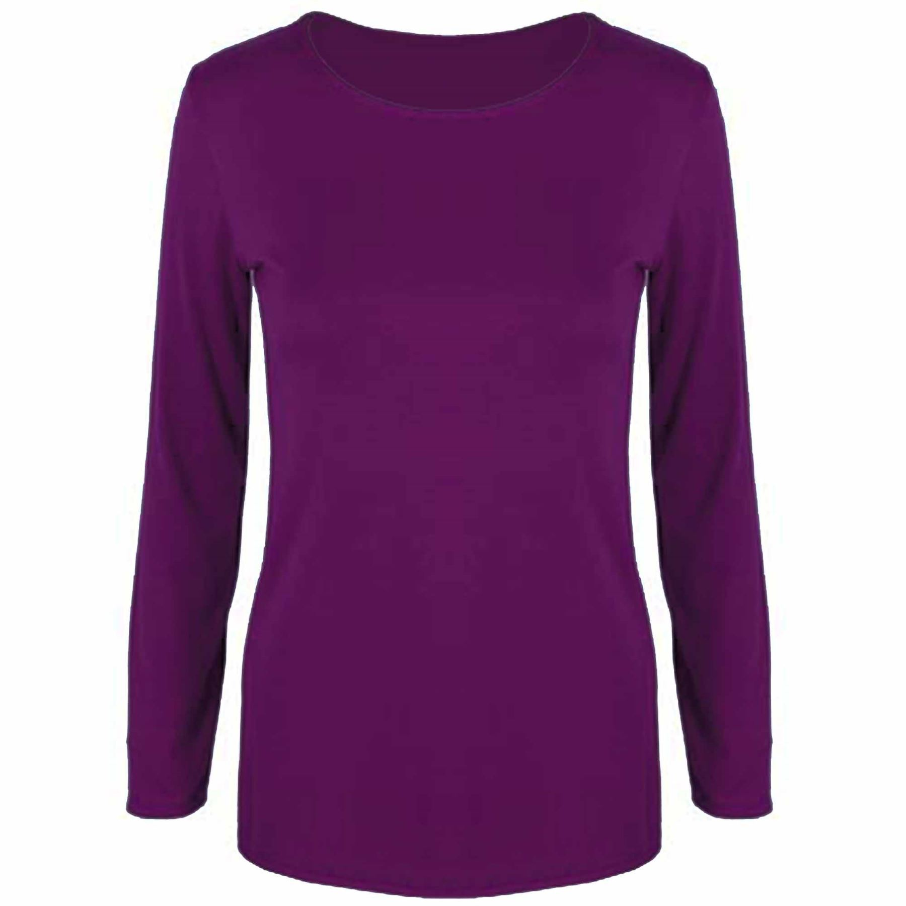 Womens t shirt ladies plain casual long sleeve fit round for Misses long sleeve tee shirts