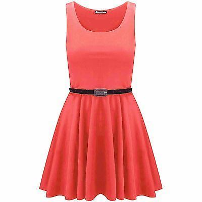 New-Womens-Ladies-Belted-Sleeveless-Franki-Flared-Party-Swing-Skater-Dress-Top thumbnail 8