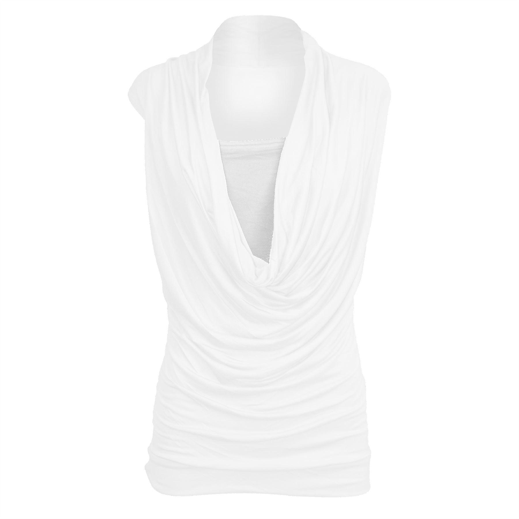 Womens Ladies Sleeveless Cowl Neck Vest Jersey T Shirt Top