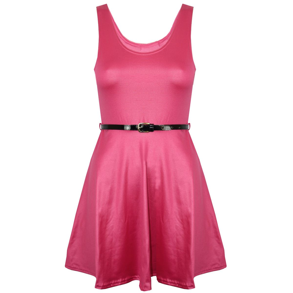 New-Womens-Ladies-Belted-Sleeveless-Franki-Flared-Party-Swing-Skater-Dress-Top thumbnail 32