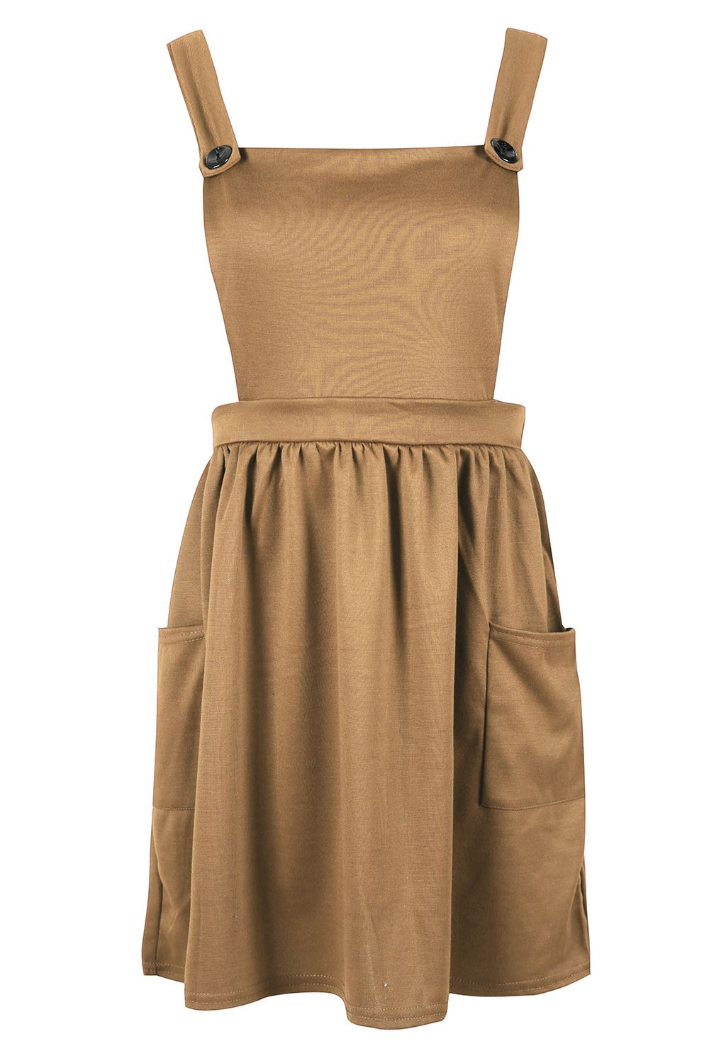 Womens-Ladies-Dungarees-Pinafore-Cross-Back-Strappy-Skater-Flared-Dress-Playsuit thumbnail 9