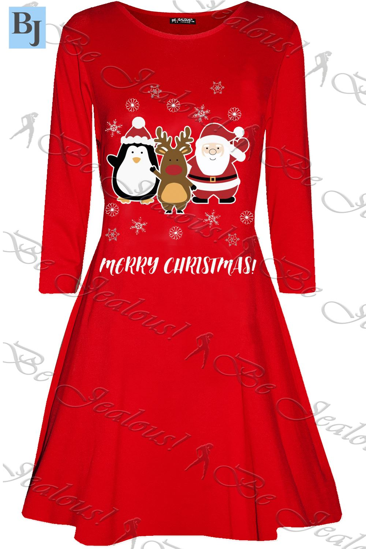 Womens-Ladies-Candystick-Elf-Long-Sleeve-Christmas-Xmas-Flared-Swing-Mini-Dress thumbnail 5