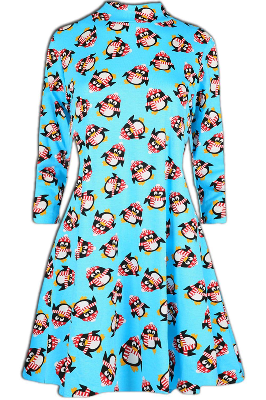 Women-Ladies-Kids-Girls-Xmas-Santa-Gifts-Christmas-Print-Skater-Mini-Swing-Dress thumbnail 45
