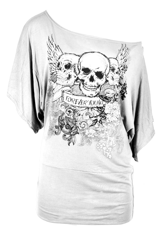 Mujer-senoras-de-un-hombro-Craneo-Bardot-Manga-Ala-de-Murcielago-Camiseta-Top-Talla-Grande