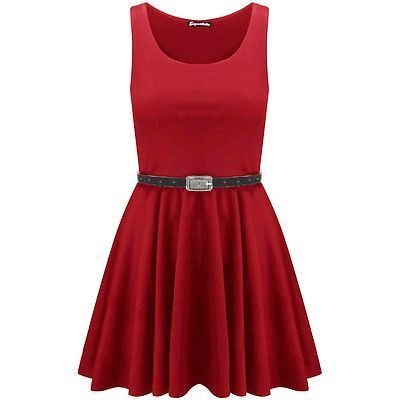 New-Womens-Ladies-Belted-Sleeveless-Franki-Flared-Party-Swing-Skater-Dress-Top thumbnail 5