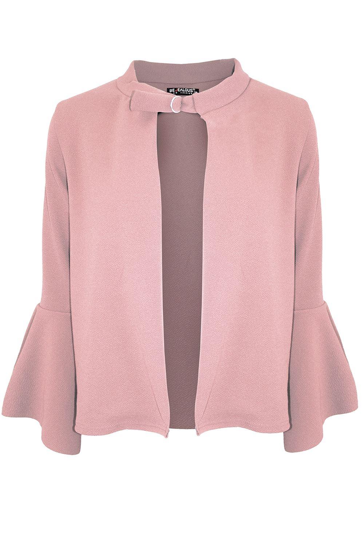 Plus Size Ladies Womens Buckle Frill Sleeve Blazer Open Front Jackets Cardigan