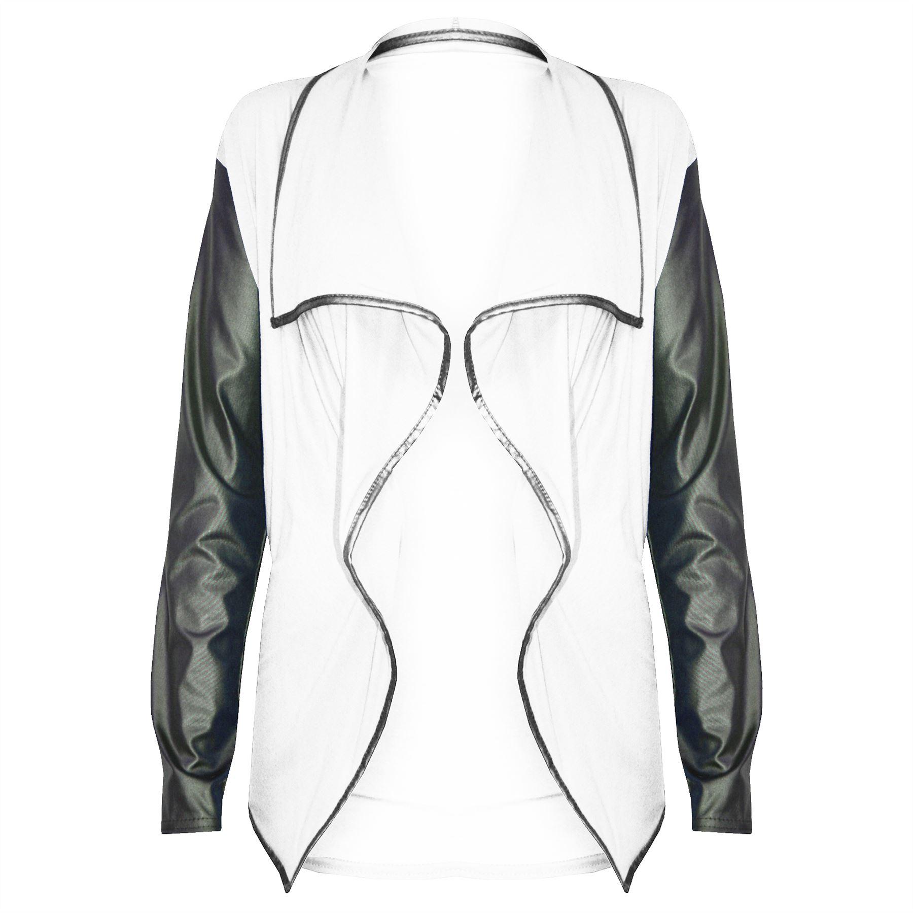 Womens-Ladies-Open-Waterfall-PVC-Wet-Look-Long-Sleeves-Front-Blazer-Cardigan-Top thumbnail 5