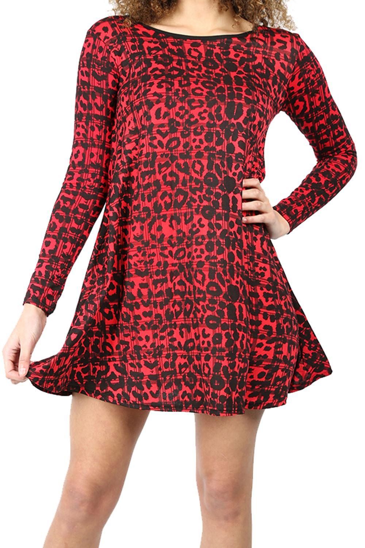 Womens-Ladies-Floral-Animal-Long-Sleeve-Aztec-Printed-Flared-Skater-Swing-Dress