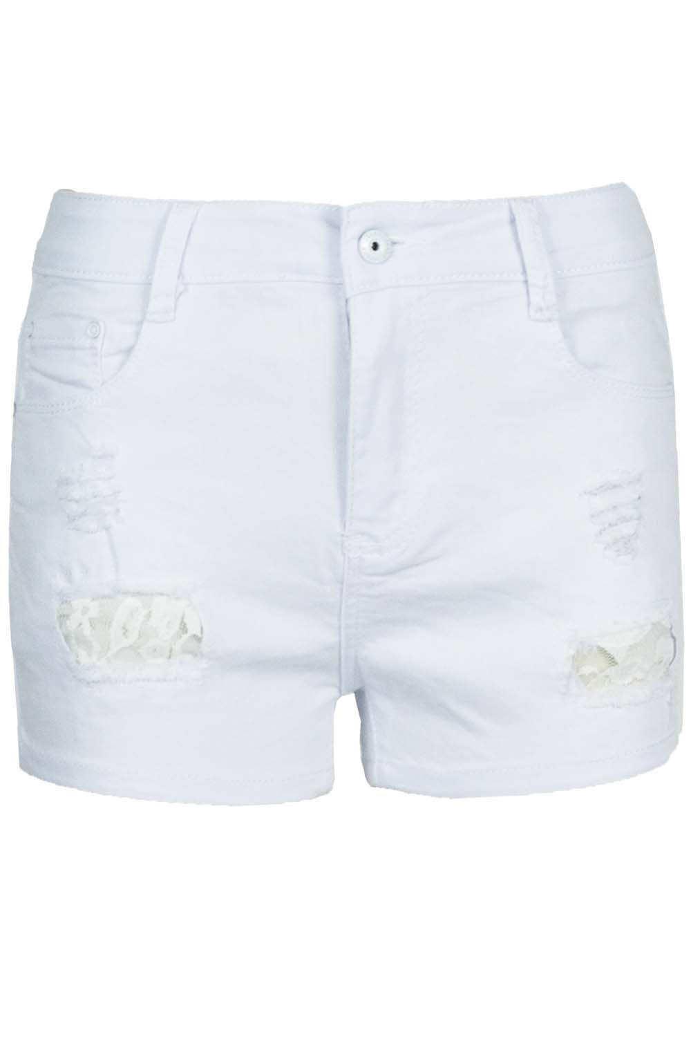Ladies-Buttons-Floral-Lace-RIPPED-DISTRESSED-Womens-Denim-Mini-Shorts-Hot-Pants