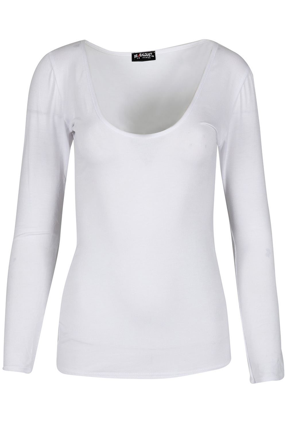 56ccd4370bc6 Womens V Neck Basic T Shirt Ladies Long Sleeve Stretchy Plain Jersey ...