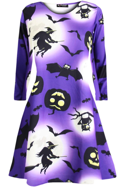 f8cf0c1cee7d Womens Ladies Pumpkin Spider Long Sleeve Skeleton Smock Halloween Swing  Dress