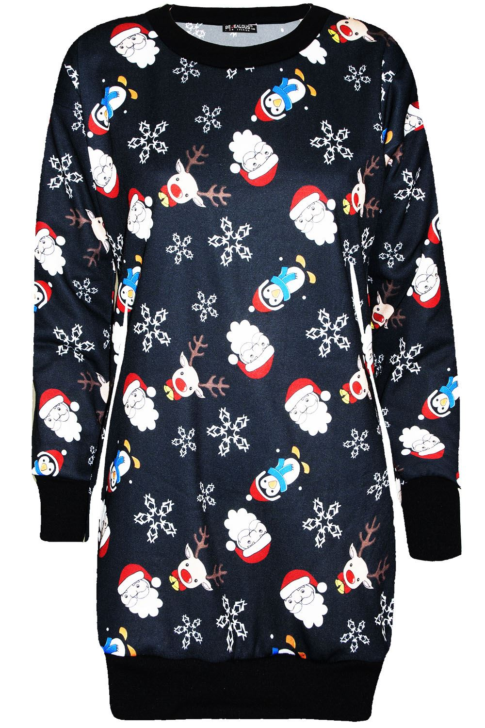 Ladies-Women-Knitwear-Snowman-Snowflake-Christmas-Fleece-Santa-Xmas-Tunic-Jumper