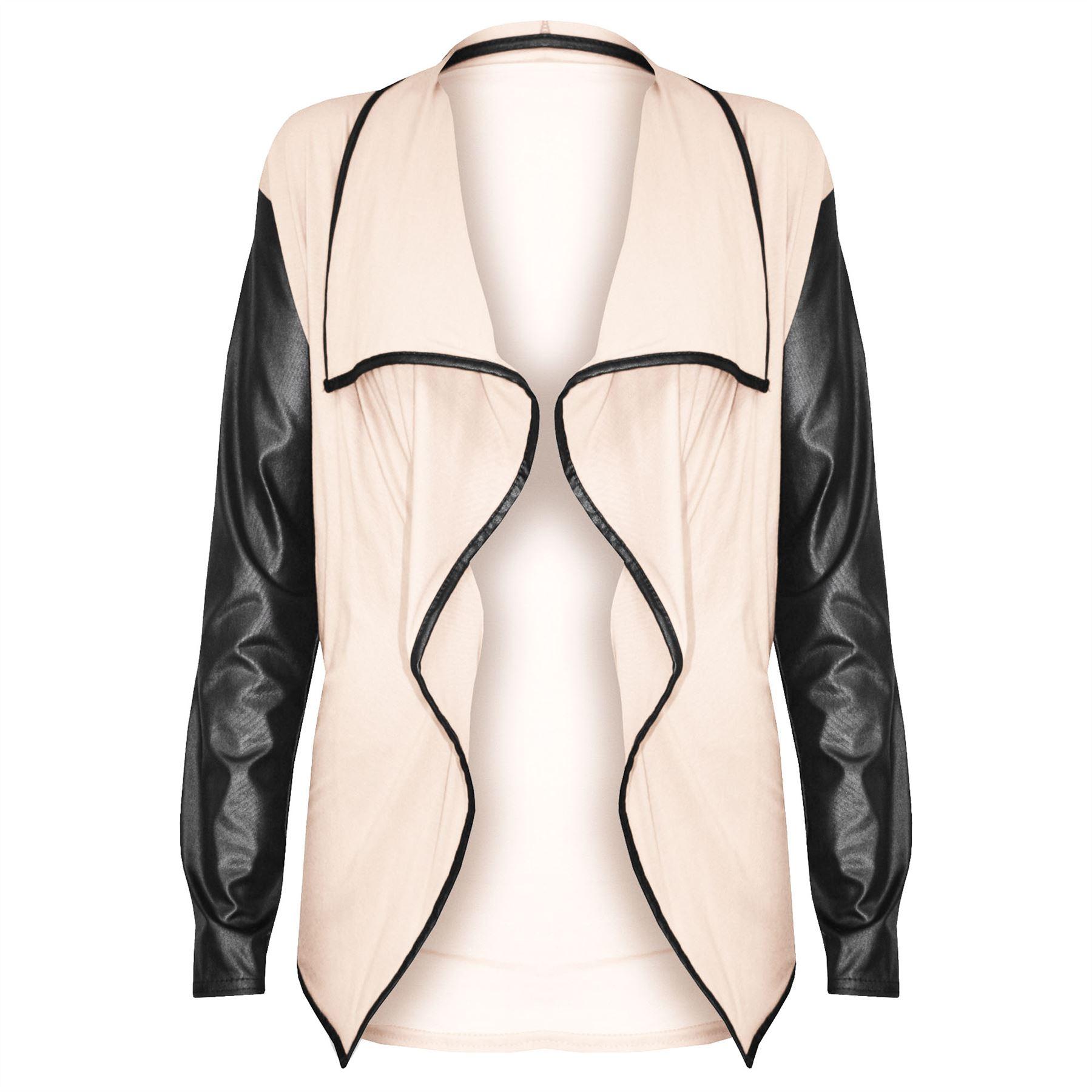 Ladies Womens Long Sleeve PVC Look Wet Open Waterfall Cardigan Blazer Top