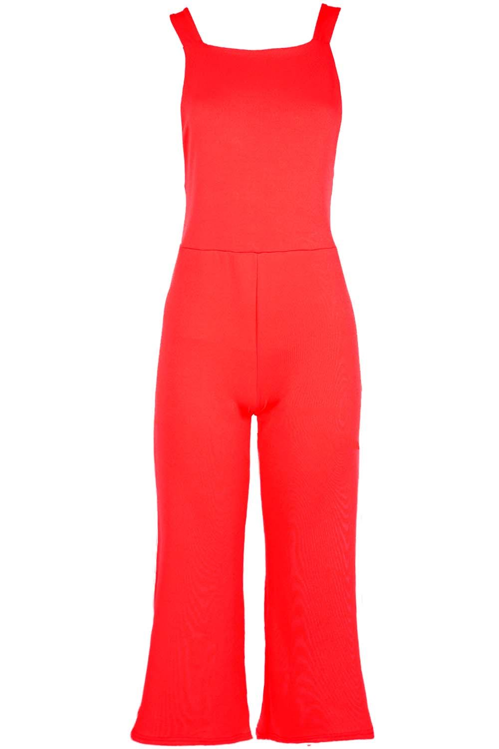 a750326e8bf Ladies Womens 3 4 Length Dungaree All In One Palazzo Wide Leg ...