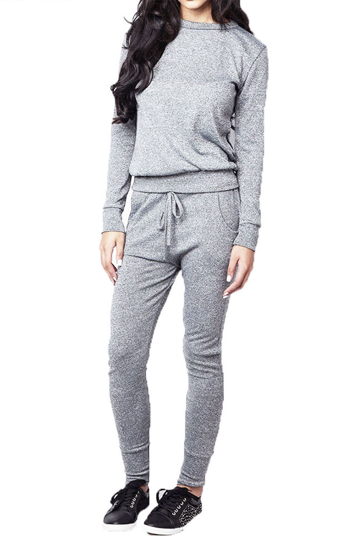 bf1e5c3f1335 Womens Ladies Lace Up Ribbed Loungewear Sweatshirt Joggers Tracksuit ...