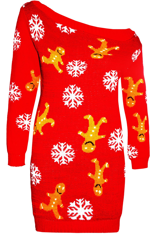 Womens Ladies Xmas Elf Costume Christmas Knitted Fancy