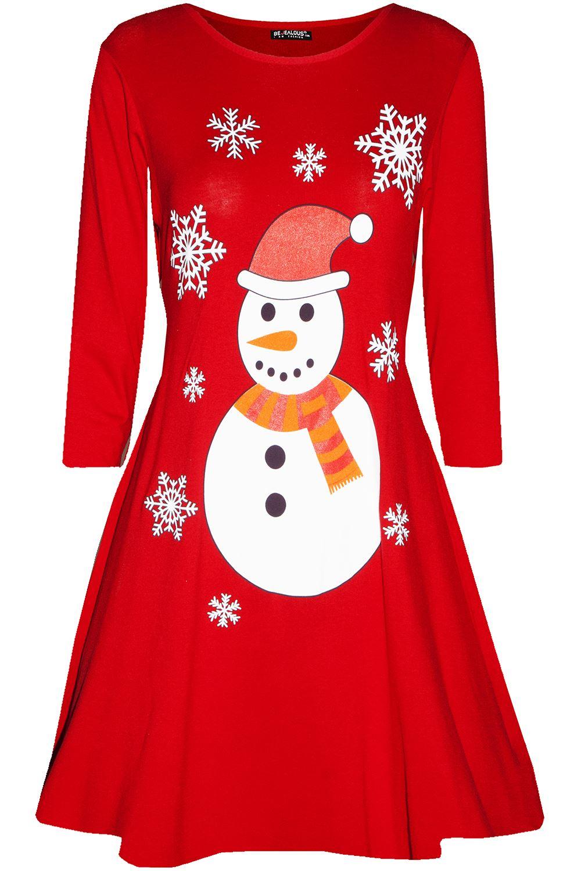 Womens-Ladies-Christmas-Xmas-Santa-Face-Gifts-Reindeer-Flared-Swing-Mini-Dress thumbnail 30