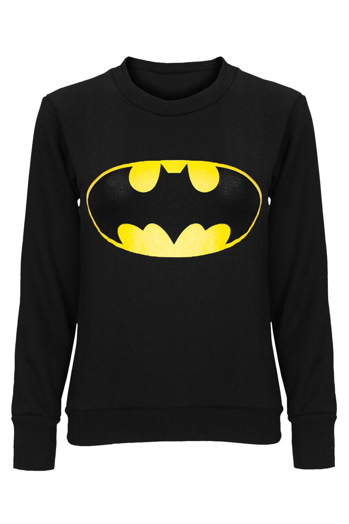 Womens ladies superman batman cap long sleeves t shirt for Long sleeve womens t shirts
