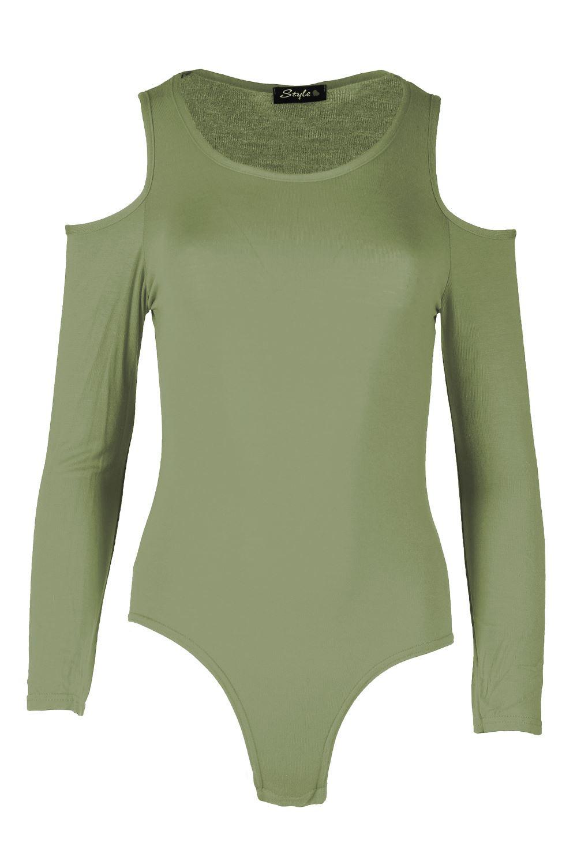 Womens Ladies Plain Cut Out Cold Shoulder Slash Neck Bardot Leotard Bodysuit Top