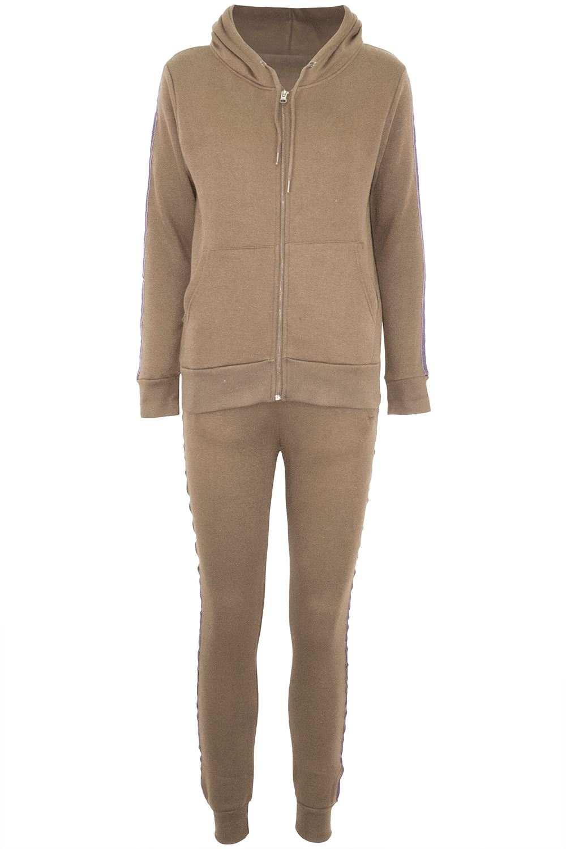 Womens Ladies Hooded Hoody Contrast Side Stripes Zip Up Loungewear Tracksuit Set