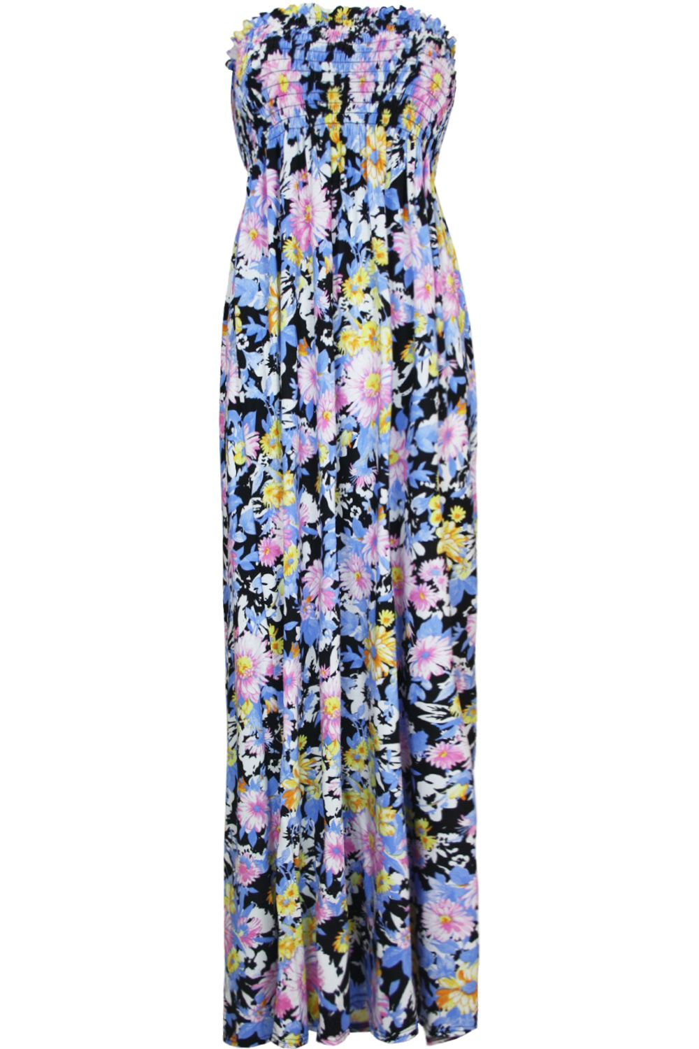 Ladies Leaf Printed Sheering Gather Boobtube Bandeau Womens Floral Maxi Dress