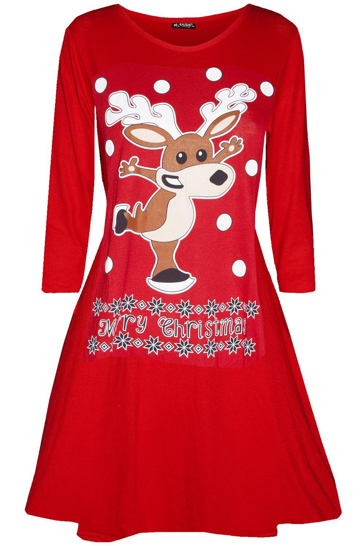 Womens-Ladies-Christmas-Xmas-Santa-Face-Gifts-Reindeer-Flared-Swing-Mini-Dress thumbnail 29