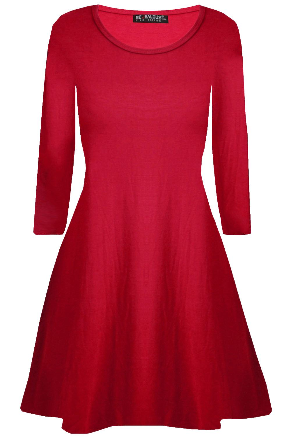 Womens-Plain-Jersey-Flared-Long-Sleeve-Ladies-Party-Mini-Swing-Skater-Dress-8-24