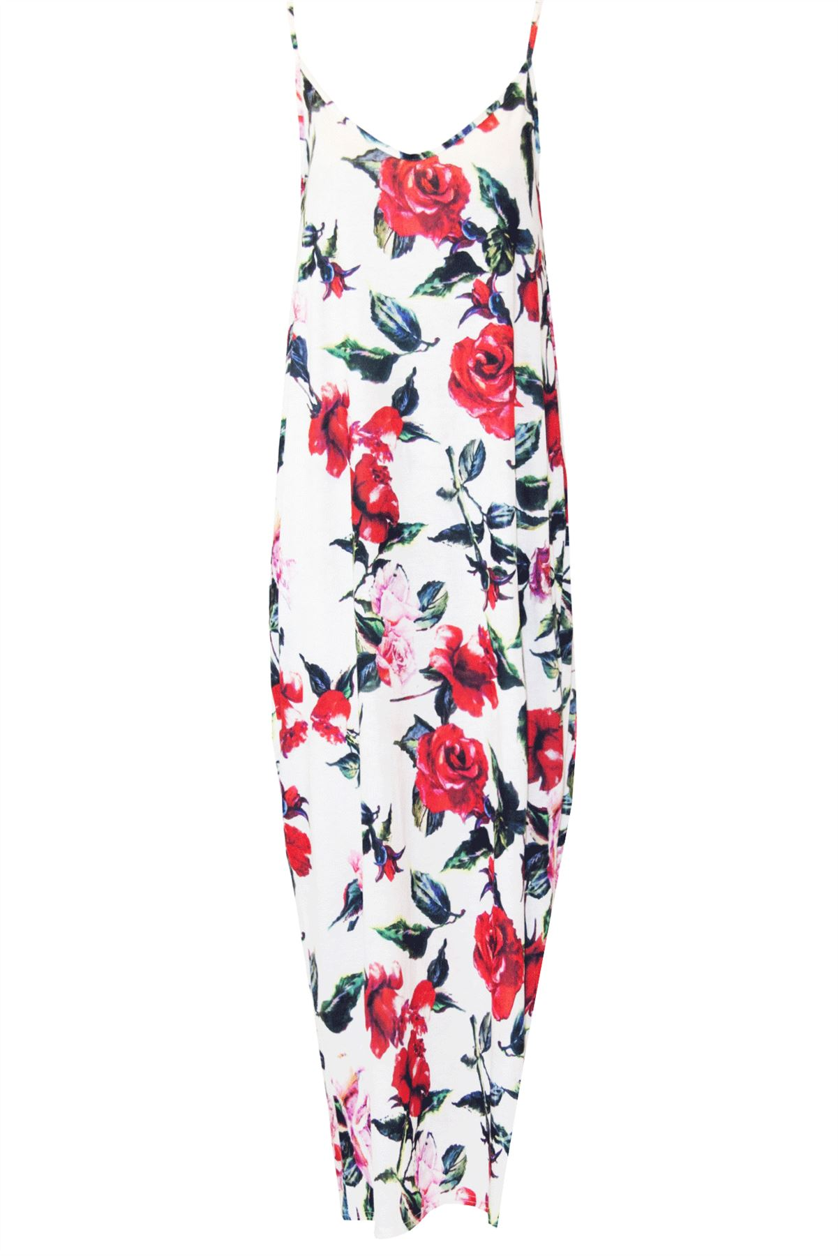 Womens Ladies Sleeveless Strappy Floral Print Evening Camisole Baggy Maxi Dress