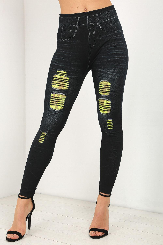 Womens Ladies Jeans Knee Cut Denim Bottom Trouser Contrast Lace Ripped Jeggings | eBay